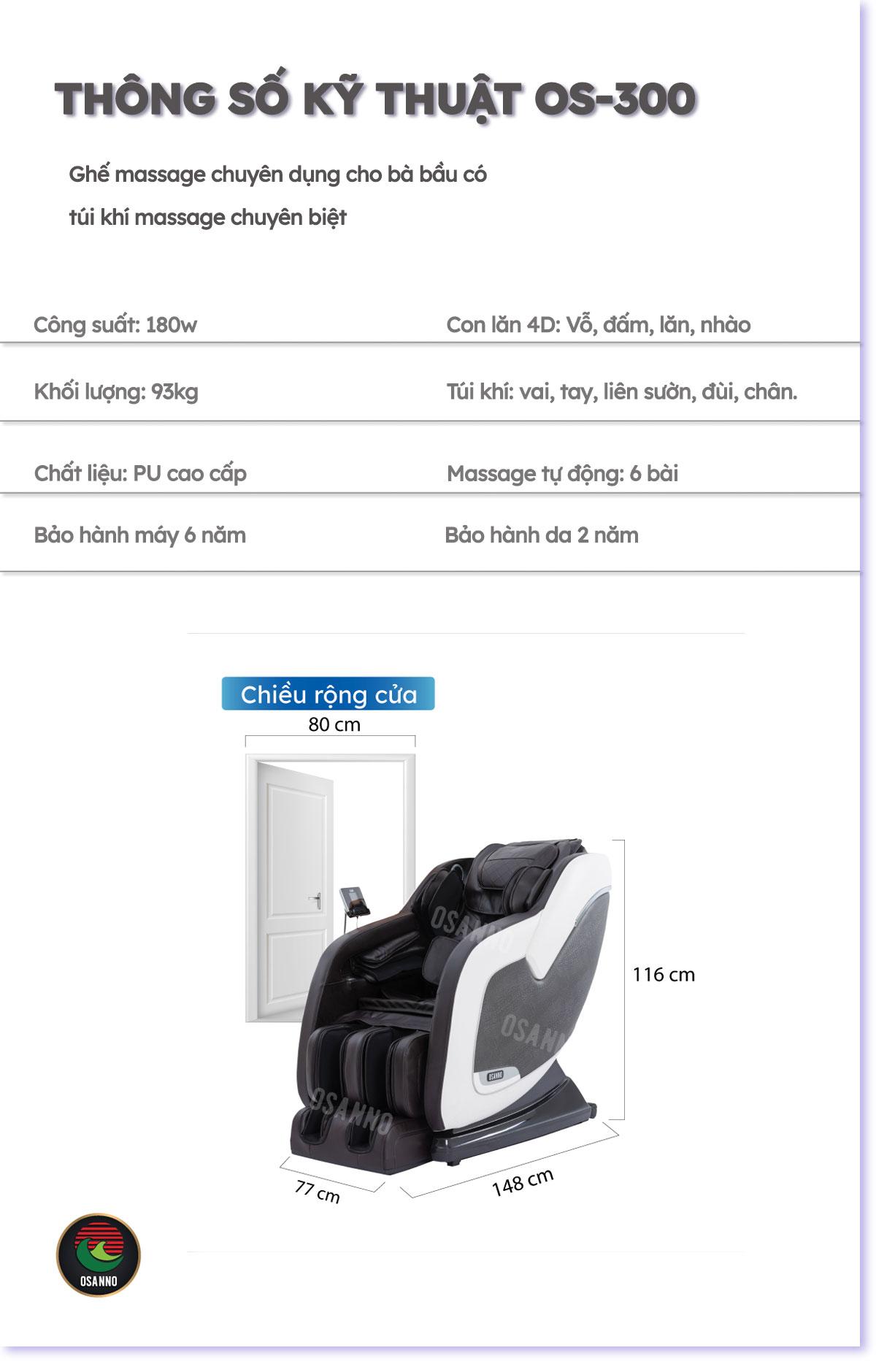 Thông số kỹ thuật ghế massage Osanno OS-300