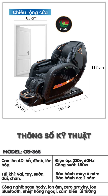 Kích thước ghế massage Osanno OS-868