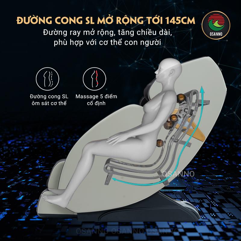 Đường cong SL mở rộng tới 145cm của ghế massage