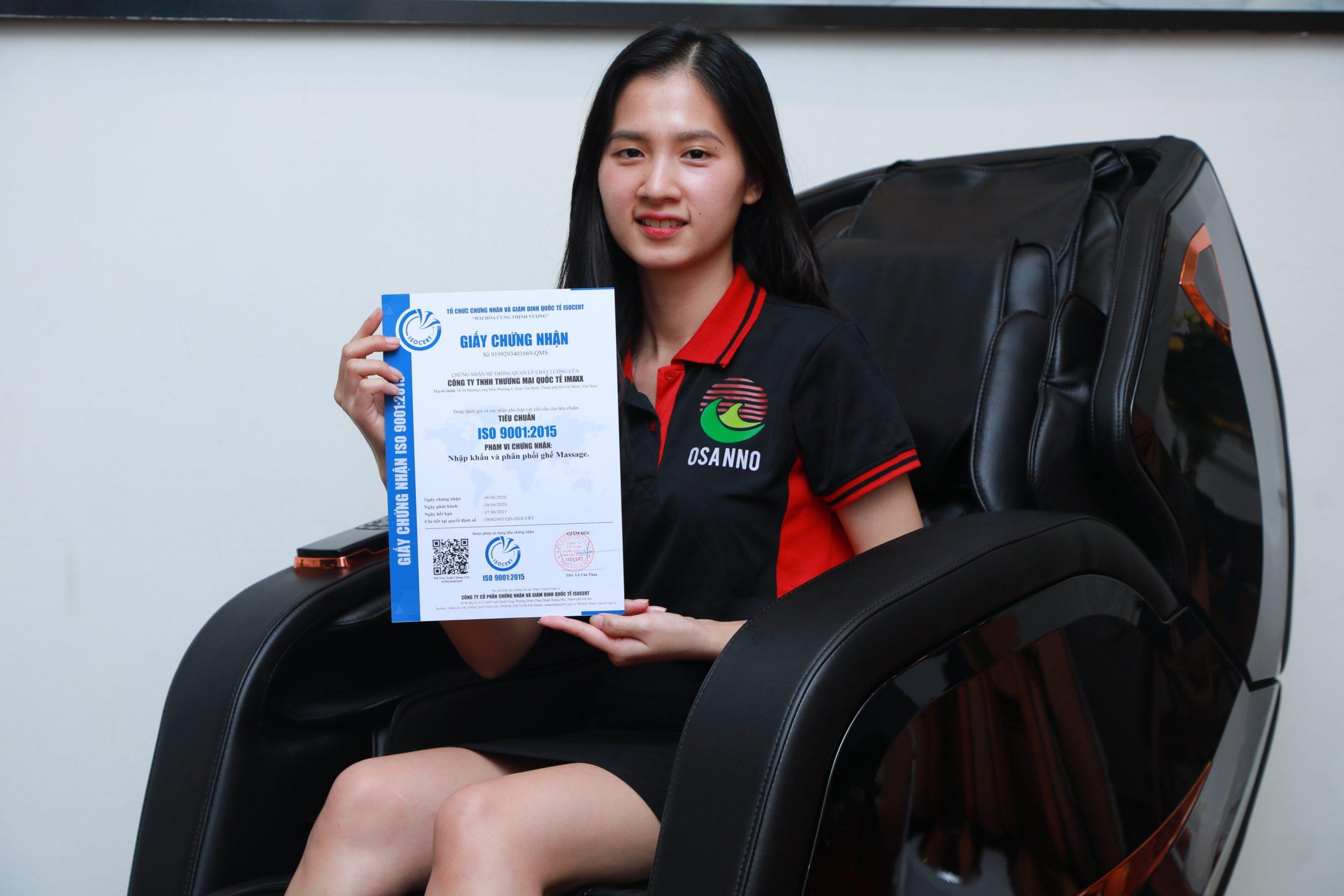 Ghế massage toàn thân OSANNO đạt chứng nhận quốc tế ISO:9001