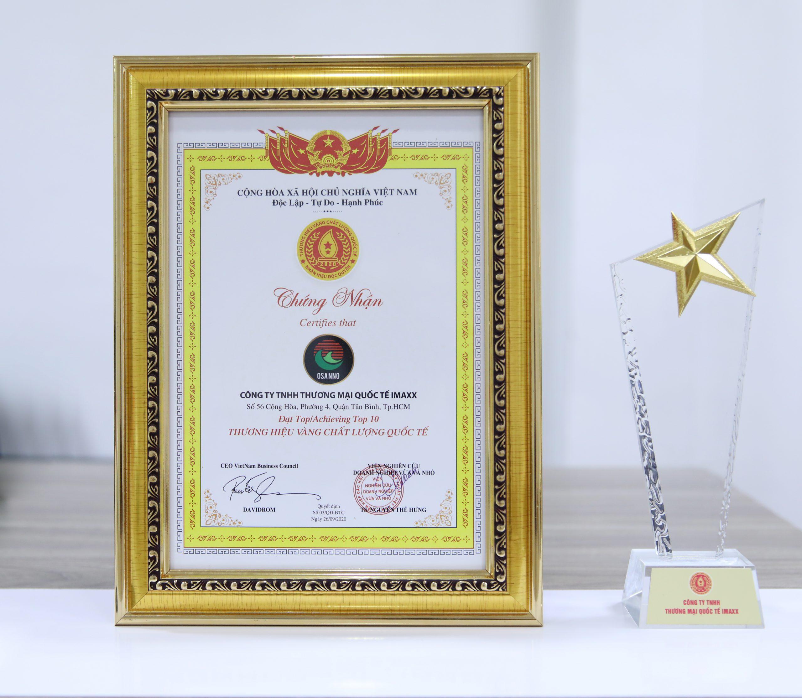 Osanno đạt được chứng nhận Thương hiệu Vàng