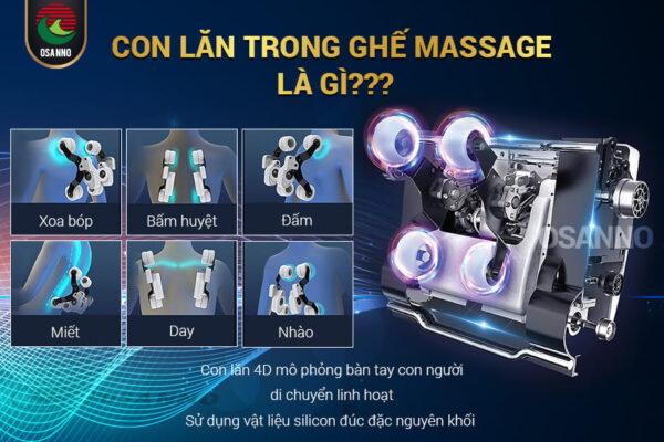 Con lăn trong ghế massage là gì? Chúng có vai trò gì trong ghế massage?