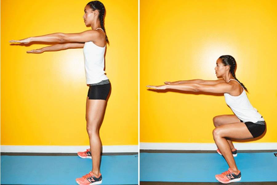Squat - bài tập cơ mông cho mông to eo thon
