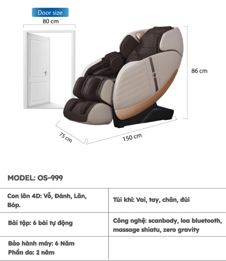 Thông số kỹ thuật ghế massage Osanno Os-999