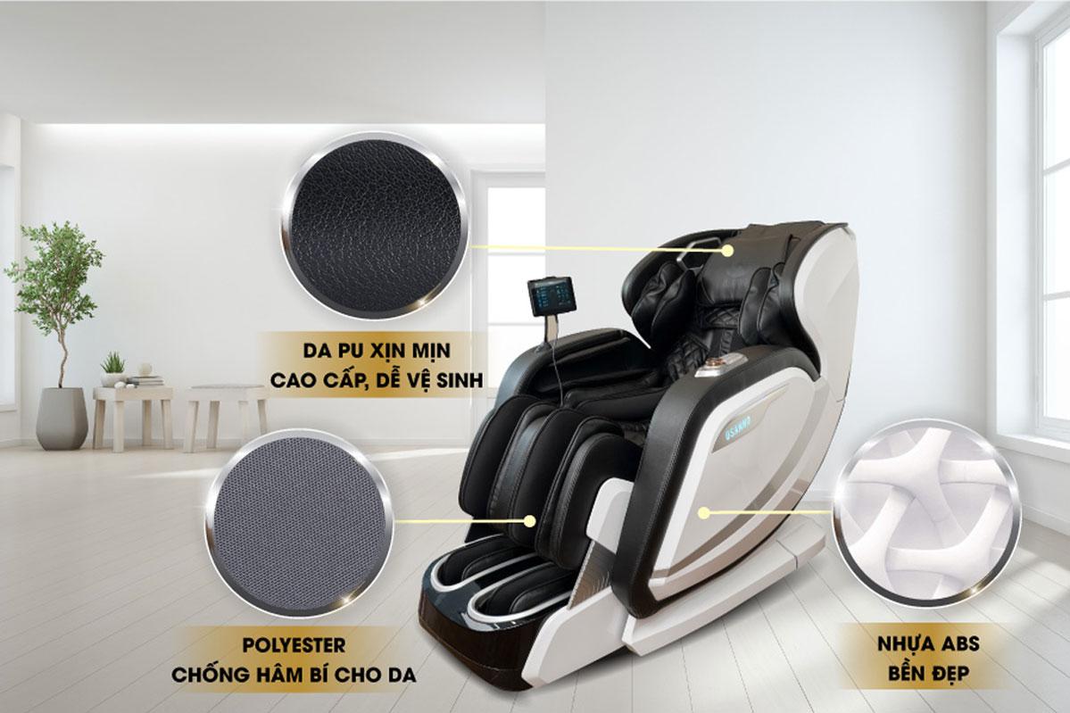Chất liệu da trên ghế massage Osanno OS-2000