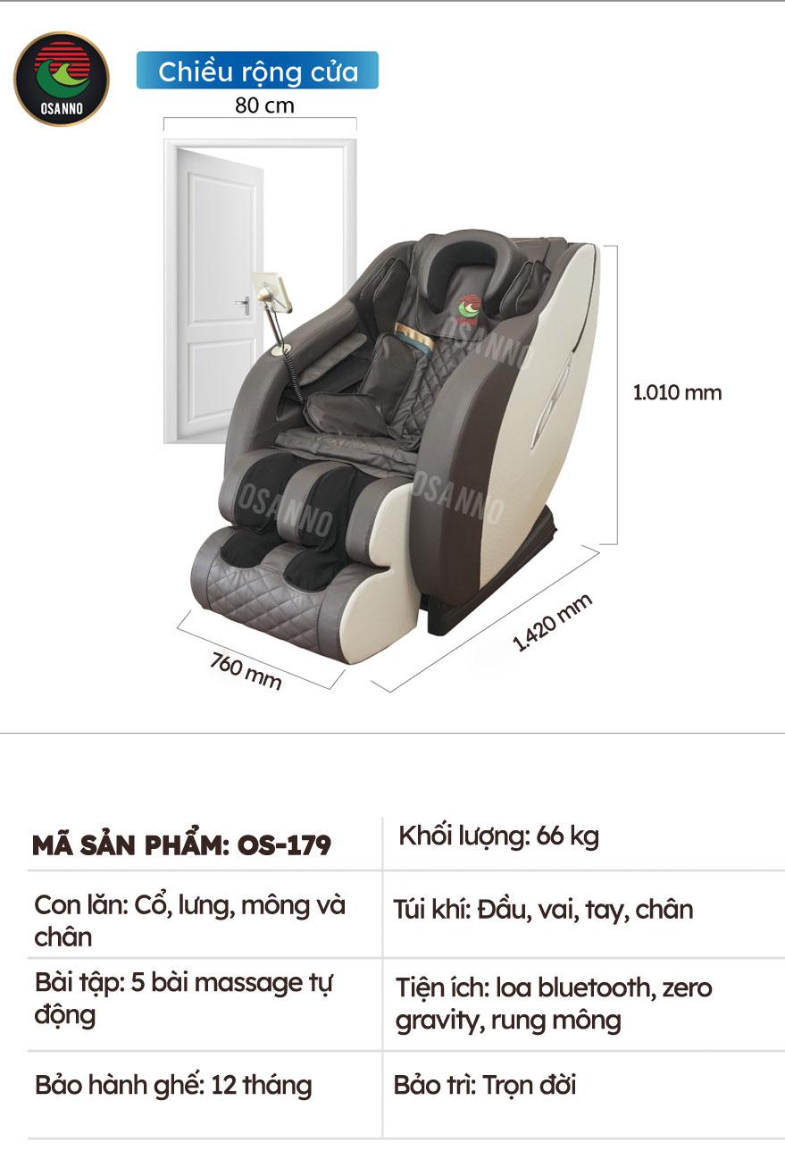 Thông số kỹ thuật ghế massage Osanno OS-179