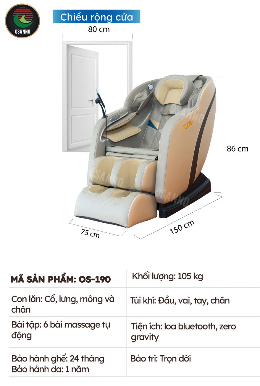 Kích thước và thông số kỹ thuật Osanno OS-190